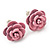 Tiny Light Pink 'Rose' Stud Earrings In Silver Tone Metal - 10mm Diameter - view 2