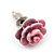 Tiny Light Pink 'Rose' Stud Earrings In Silver Tone Metal - 10mm Diameter - view 6
