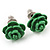 Tiny Green 'Rose' Stud Earrings In Silver Tone Metal - 10mm Diameter - view 3