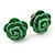 Tiny Green 'Rose' Stud Earrings In Silver Tone Metal - 10mm Diameter - view 2
