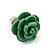 Tiny Green 'Rose' Stud Earrings In Silver Tone Metal - 10mm Diameter - view 5