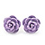 Tiny Lavender 'Rose' Stud Earrings In Silver Tone Metal - 10mm Diameter