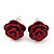 Tiny Red 'Rose' Stud Earrings In Silver Tone Metal - 10mm Diameter - view 6