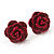 Tiny Red 'Rose' Stud Earrings In Silver Tone Metal - 10mm Diameter - view 2