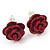 Tiny Red 'Rose' Stud Earrings In Silver Tone Metal - 10mm Diameter - view 5
