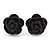 Tiny Black 'Rose' Stud Earrings In Silver Tone Metal - 10mm Diameter