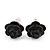 Tiny Black 'Rose' Stud Earrings In Silver Tone Metal - 10mm Diameter - view 2