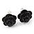Tiny Black 'Rose' Stud Earrings In Silver Tone Metal - 10mm Diameter - view 4