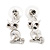 Small Clear Crystal Cute 'Owl' Stud Drop Earrings In Rhodium Plated Metal - 3cm Length - view 2