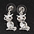 Small Clear Crystal Cute 'Owl' Stud Drop Earrings In Rhodium Plated Metal - 3cm Length - view 1