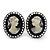Classic Pearl Cameo Clip-On Earrings (Black Tone) - 3.3cm Length