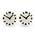 Funky Black/White Acrylic 'Clock' Stud Earrings - 17mm Diameter - view 2