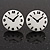Funky Black/White Acrylic 'Clock' Stud Earrings - 17mm Diameter - view 1