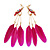 Funky Long Magenta 'Parrot' Feather Earrings In Gold Plating - 13cm Length - view 1