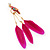 Funky Long Magenta 'Parrot' Feather Earrings In Gold Plating - 13cm Length - view 4