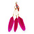 Funky Long Magenta 'Parrot' Feather Earrings In Gold Plating - 13cm Length - view 2