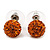 Orange Swarovski Crystal Ball Stud Earrings In Silver Plated Finish - 9mm Diameter