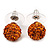 Orange Swarovski Crystal Ball Stud Earrings In Silver Plated Finish - 9mm Diameter - view 6