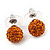Orange Swarovski Crystal Ball Stud Earrings In Silver Plated Finish - 9mm Diameter - view 2