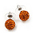 Orange Swarovski Crystal Ball Stud Earrings In Silver Plated Finish - 9mm Diameter - view 7