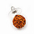 Orange Swarovski Crystal Ball Stud Earrings In Silver Plated Finish - 9mm Diameter - view 5