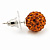 Orange Swarovski Crystal Ball Stud Earrings In Silver Plated Finish - 9mm Diameter - view 3