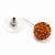 Orange Swarovski Crystal Ball Stud Earrings In Silver Plated Finish - 9mm Diameter - view 4
