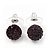 Deep Purple Swarovski Crystal Ball Stud Earrings In Silver Plated Finish - 9mm Diameter