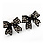 Small Black Diamante 'Bow' Stud Earrings - 15mm Length - view 6