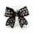 Small Black Diamante 'Bow' Stud Earrings - 15mm Length - view 2