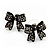 Small Black Diamante 'Bow' Stud Earrings - 15mm Length - view 3