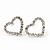 Clear Crystal Open 'Heart' Stud Earrings In Silver Metal - 2cm Length - view 6