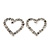 Clear Crystal Open 'Heart' Stud Earrings In Silver Metal - 2cm Length - view 2