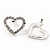 Clear Crystal Open 'Heart' Stud Earrings In Silver Metal - 2cm Length - view 5