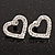 Clear Crystal Open 'Heart' Stud Earrings In Silver Metal - 2cm Length - view 3