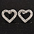 Clear Crystal Open 'Heart' Stud Earrings In Silver Metal - 2cm Length