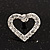 Clear Crystal Open 'Heart' Stud Earrings In Silver Metal - 2cm Length - view 4