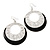 Silver Tone Black Enamel Cut Out Hoop Earrings - 7.5cm Drop - view 1