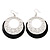 Silver Tone Black Enamel Cut Out Hoop Earrings - 7.5cm Drop - view 4