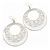 Silver Tone White Enamel Cut Out Hoop Earrings - 7.5cm Drop