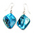 Turquoise Coloured Shell Bead Drop Earrings (Silver Tone) - 4cm Length