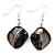 Black Shell Bead Drop Earrings (Silver Tone) - 4cm Length