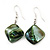 Green Shell Bead Drop Earrings (Silver Tone) - 4cm Length