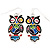 Funky Multicoloured Enamel Owl Drop Earrings In Silver Tone Metal - 4cm Length