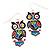 Funky Multicoloured Enamel Owl Drop Earrings In Silver Tone Metal - 4cm Length - view 3