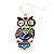 Funky Multicoloured Enamel Owl Drop Earrings In Silver Tone Metal - 4cm Length - view 4