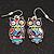 Funky Multicoloured Enamel Owl Drop Earrings In Silver Tone Metal - 4cm Length - view 2