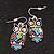 Funky Multicoloured Enamel Owl Drop Earrings In Silver Tone Metal - 4cm Length - view 5