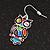 Funky Multicoloured Enamel Owl Drop Earrings In Silver Tone Metal - 4cm Length - view 6