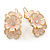 C-Shape Cream/ Light Pink Enamel Floral Earrings In Silver Tone With Leverback Closure - 30mm L